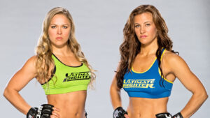 LAS VEGAS, NV - MAY 31: Ronda Rousey and Miesha Tate pose for a portrait on May 31, 2013 in Las Vegas, Nevada. (Photo by Ian Spanier/Zuffa LLC/Zuffa LLC via Getty Images)