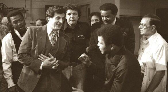 En el camerino con Sylvester Stallone justo antes de la pelea contra Earnie Shavers en el Madison Square Garden, ciudad de Nueva York, 1977.
