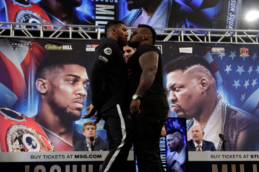 Anthony Joshua face off Jarrell Miller (Matchroom Boxing)