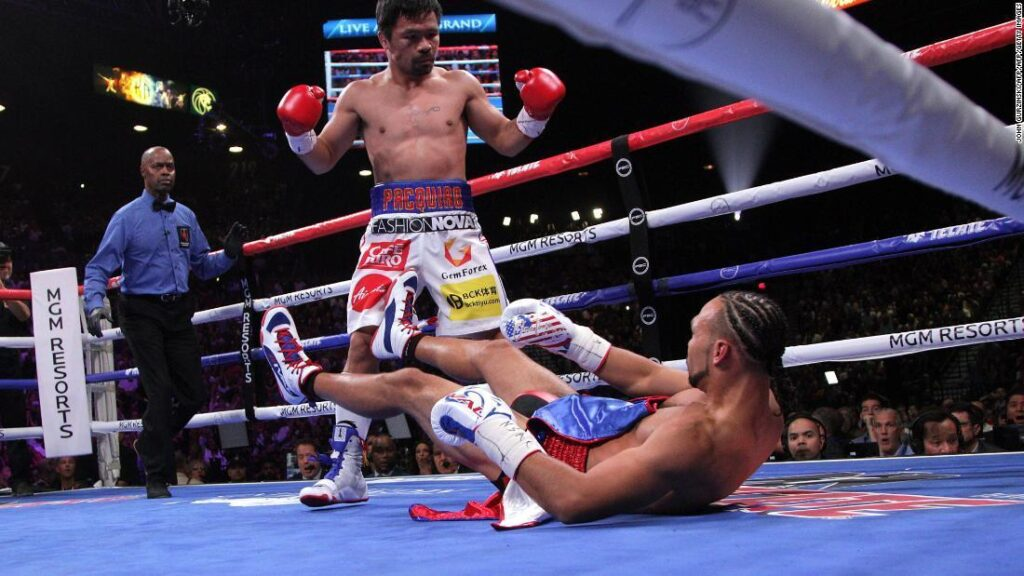 Manny Pacquiao & Keith Thurman en la lona 2 (Getty Images)