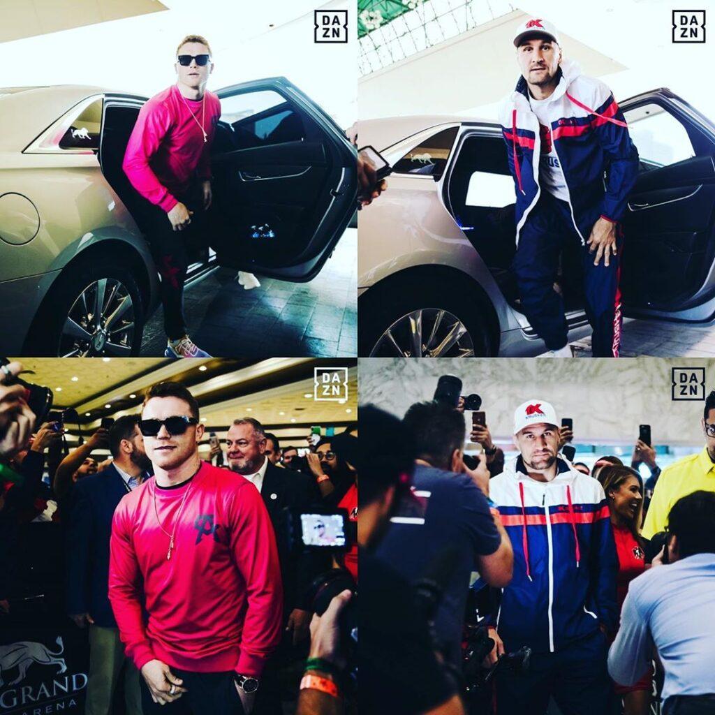 Canelo Álvarez & Sergey Kovalev at their arrivings at the MGM Grand Arena Hotel (Photo By DAZN)