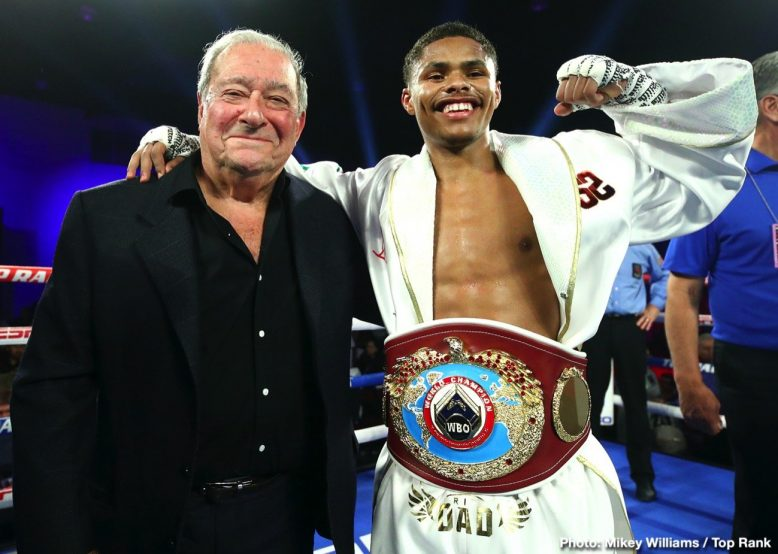 Bob Arum & Shakur Stevenson (Mikey Williams Top Rank)
