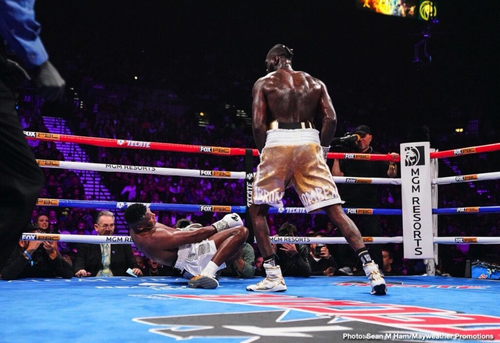Luis Ortíz en el suelo, noqueado por Deontay Wilder (Photo By Mayweather Promotions)