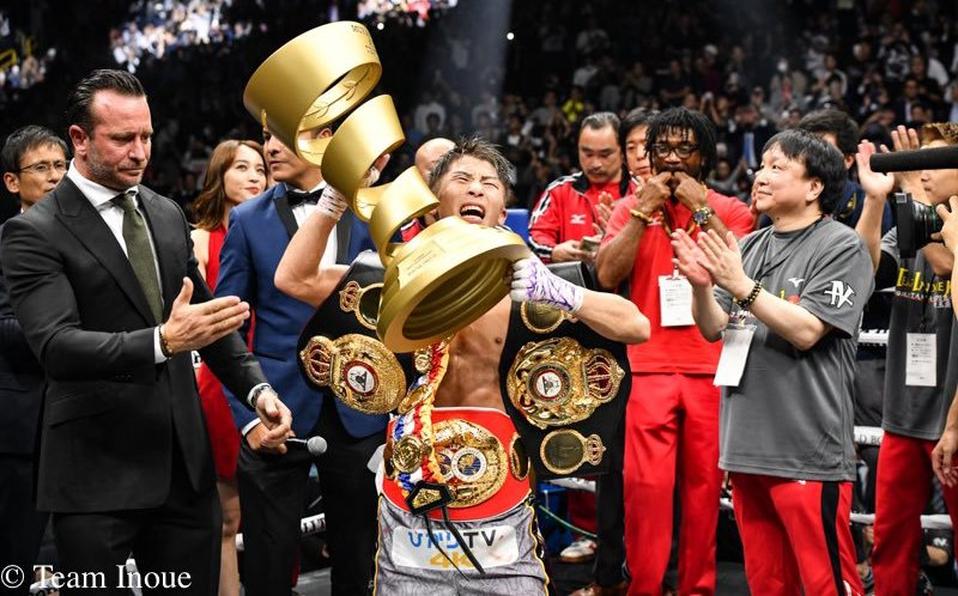 Naoya Inoue with the Muhammad Ali Trophy (Photo By Team Inoue)