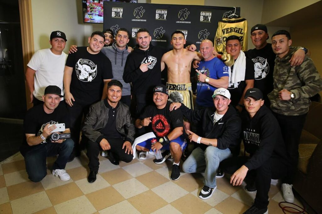 Vergil Ortíz Jr & his whole team after victory (Photo By Golden Boy Promotions)