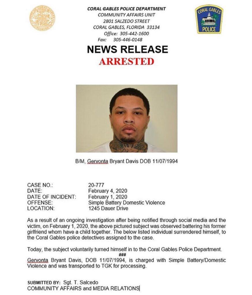 Gervonta Davis information at Coral Gables Police Department (Coral Gables Police Departament)