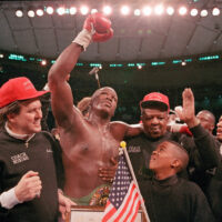 James 'Buster' Douglas after beating Mike Tyson in Japan (AP Photo Sadayuki Mikami, File)
