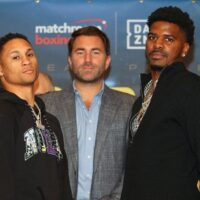 February 27, 2020; Frisco, TX, USA; Regis Prograis and Maurice Hooker pose after the press conference announcing their April 17, 2020 Matchroom Boxing USA fight which will take place at the MGM National Harbor in Oxen Hill, MD. Mandatory Credit: Ed Mulho