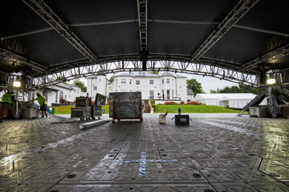 Matchroom Boxing Fight Camp 27 July 2020 Picture By Mark Robinson. Work gets underway at Matchroom headquarters on putting the canopy up for Saturday nights 1st Fight Camp