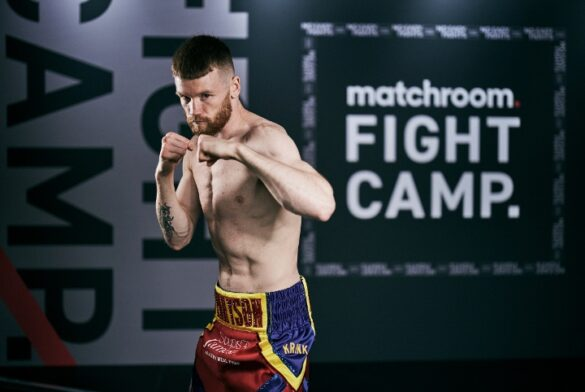 HANDOUT PICTURE COMPLIMENTS OF MATCHROOM BOXING Matchroom Boxing Fight Camp Media Day 29 July 2020 Picture By Mark Robinson James Tennyson takes part in his media filming today